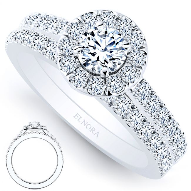 Halo Collectie - Classic Diamonds Ring Set - Briljant