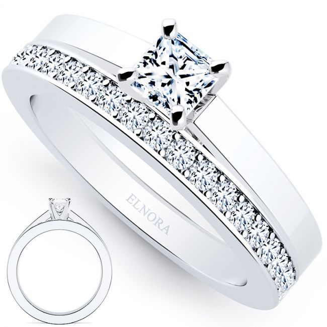 Solitaire Elnora Brug Ring Set - Princess
